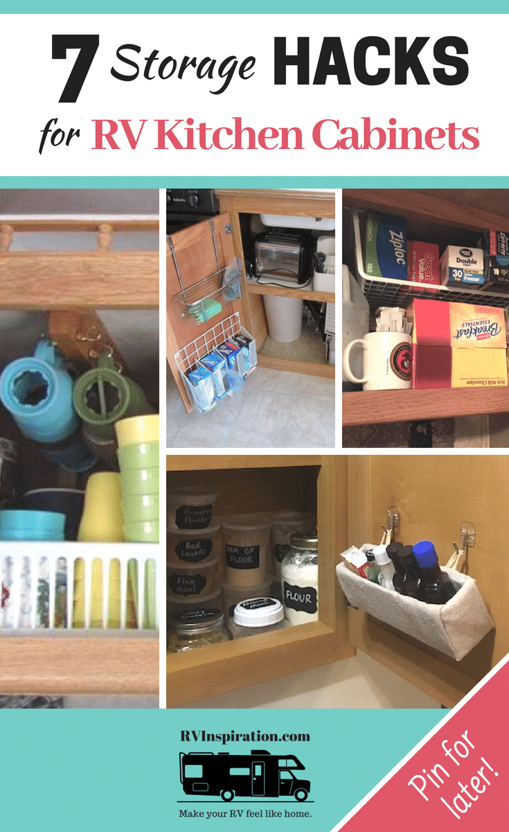 Clever ways to organize and save space in a #camper, #motorhome, or #traveltrailer #kitchen