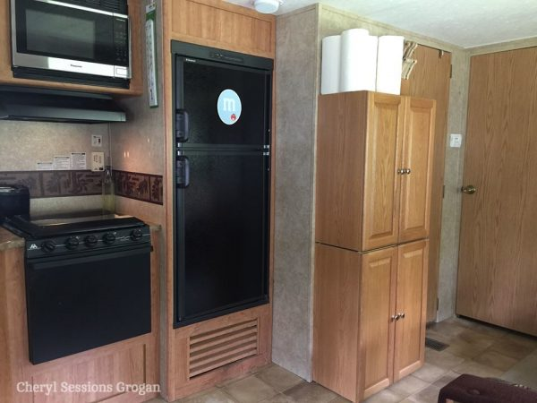 Cabinet added to RV kitchen for added pantry space