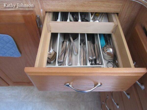 Organized drawer in an RV kitchen