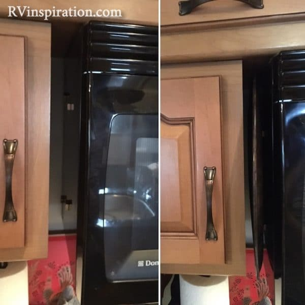 Pizza pan attached with magnets to side of microwave in RV kitchen