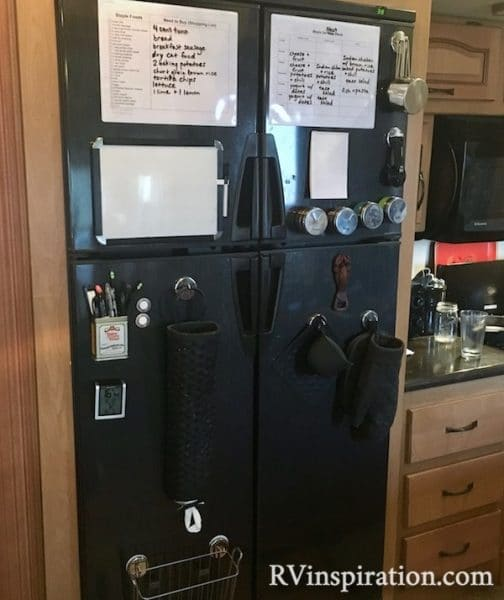 RV refrigerator used as storage with magnetic hooks