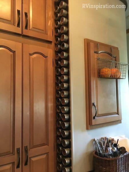 Vertical spice storage idea in RV kitchen