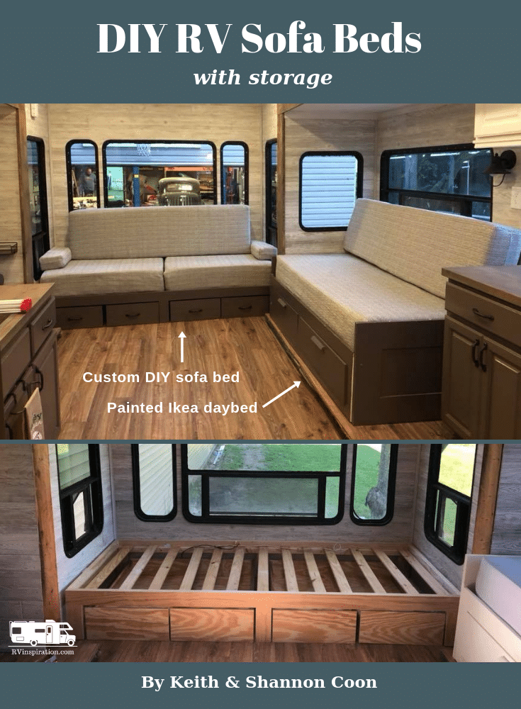 DIY RV sofa beds with storage by Keith and Shannon Coon