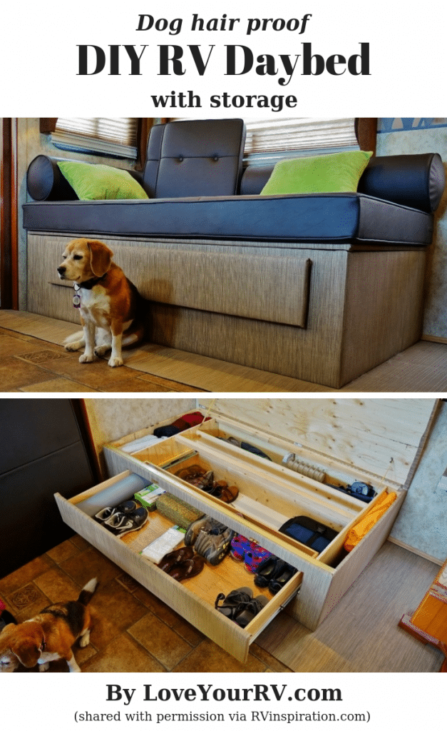 Dog hair proof DIY custom RV daybed sofa with storage by LoveYourRV.com