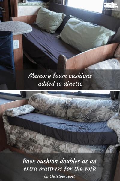 Memory foam mattress for RV dinette