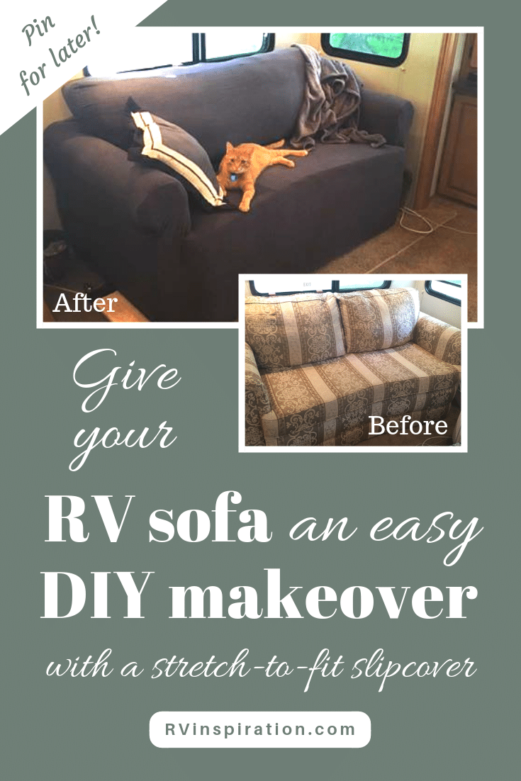 Give your #RV sofa bed an easy DIY makeover with a slipcover | rvinspiration.com