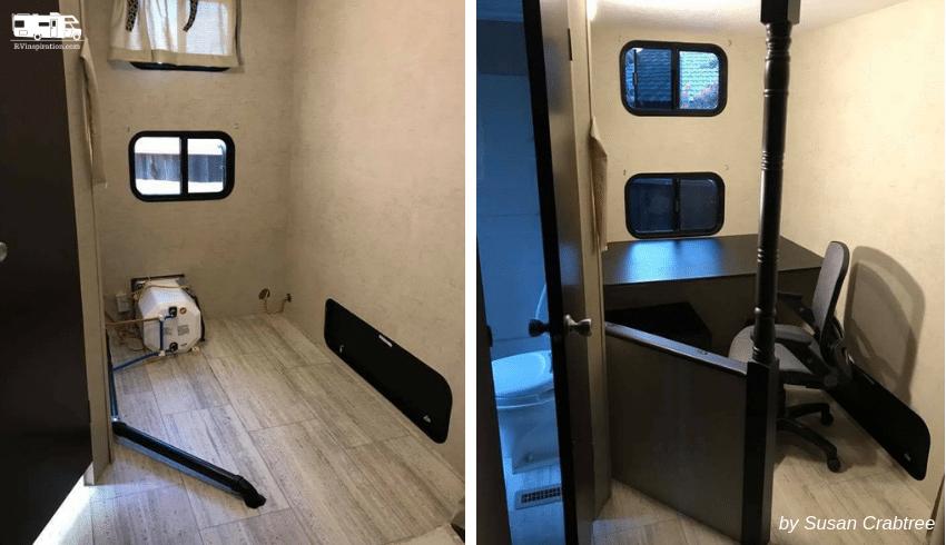 RV Corner Bunk Room Converted to Mobile Office in Travel Trailer | rvinspiration.com