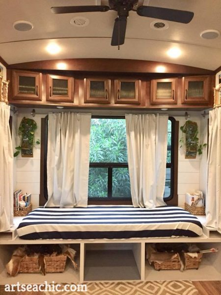 DIY sofa bed in RV by Tiffany Mass of artseachic.com