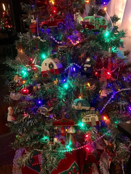 Christmas tree adorned with miniature camper ornaments by Sharon Beimers Semkiw