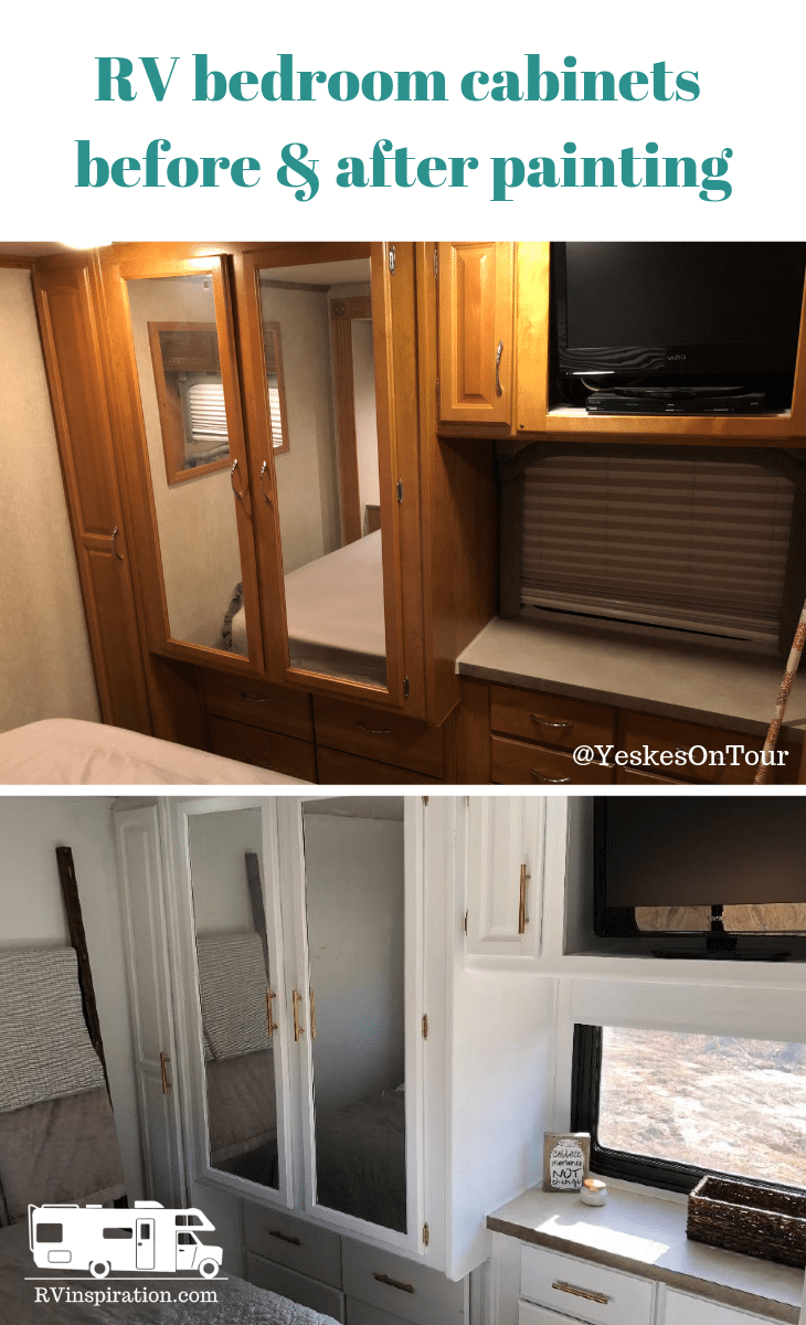 Before and after pictures of #painted #RV #cabinets in a #motorhome