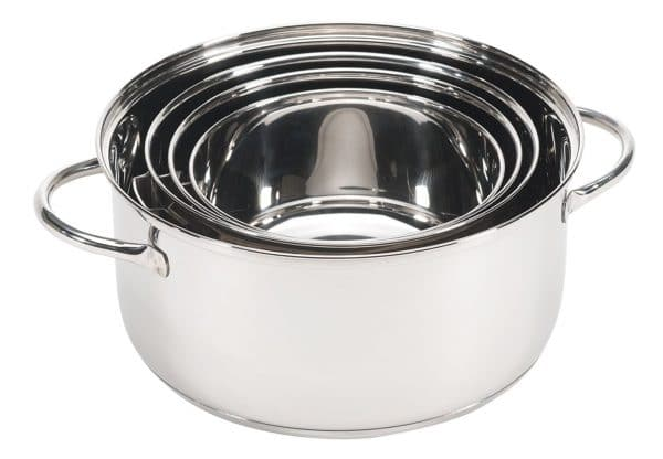 Nesting pots and pans for RV kitchen