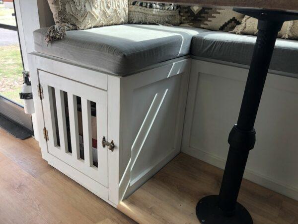 Custom dog kennel added under dinette