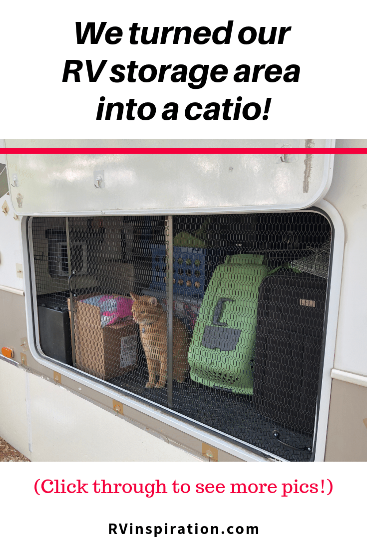 Screened in porch for Kitty under our camper
