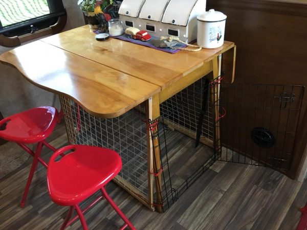 Dog crate made by adding fencing to table