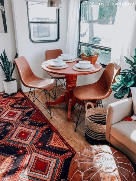 ems_traveldiary Colorful rug in renovated fifth wheel