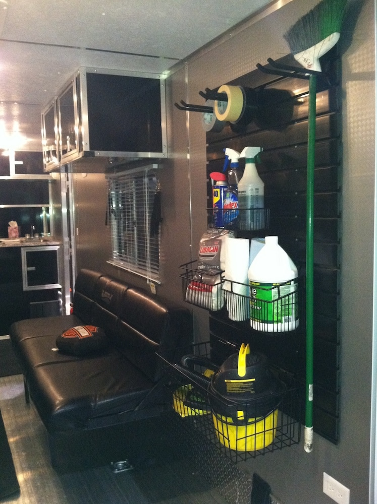 Slatwall organization system from OrganizedObie.com for organizing an RV toy hauler garage
