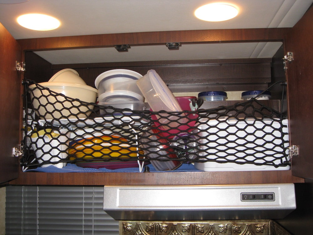 Gear net used in RV cabinet