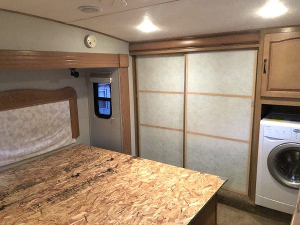 RV bed with sides cut off