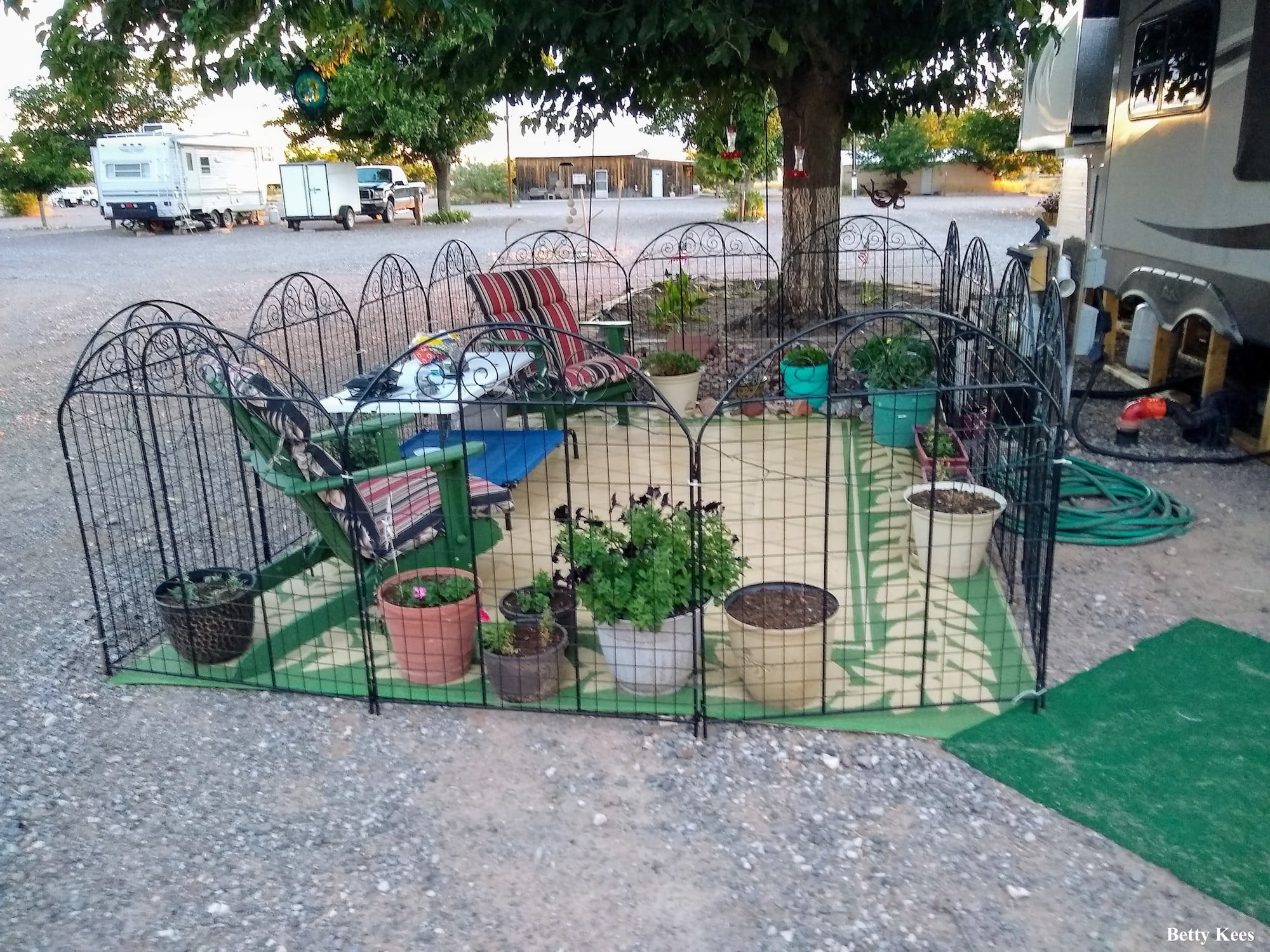 RV patio ideas - folding fence for pets