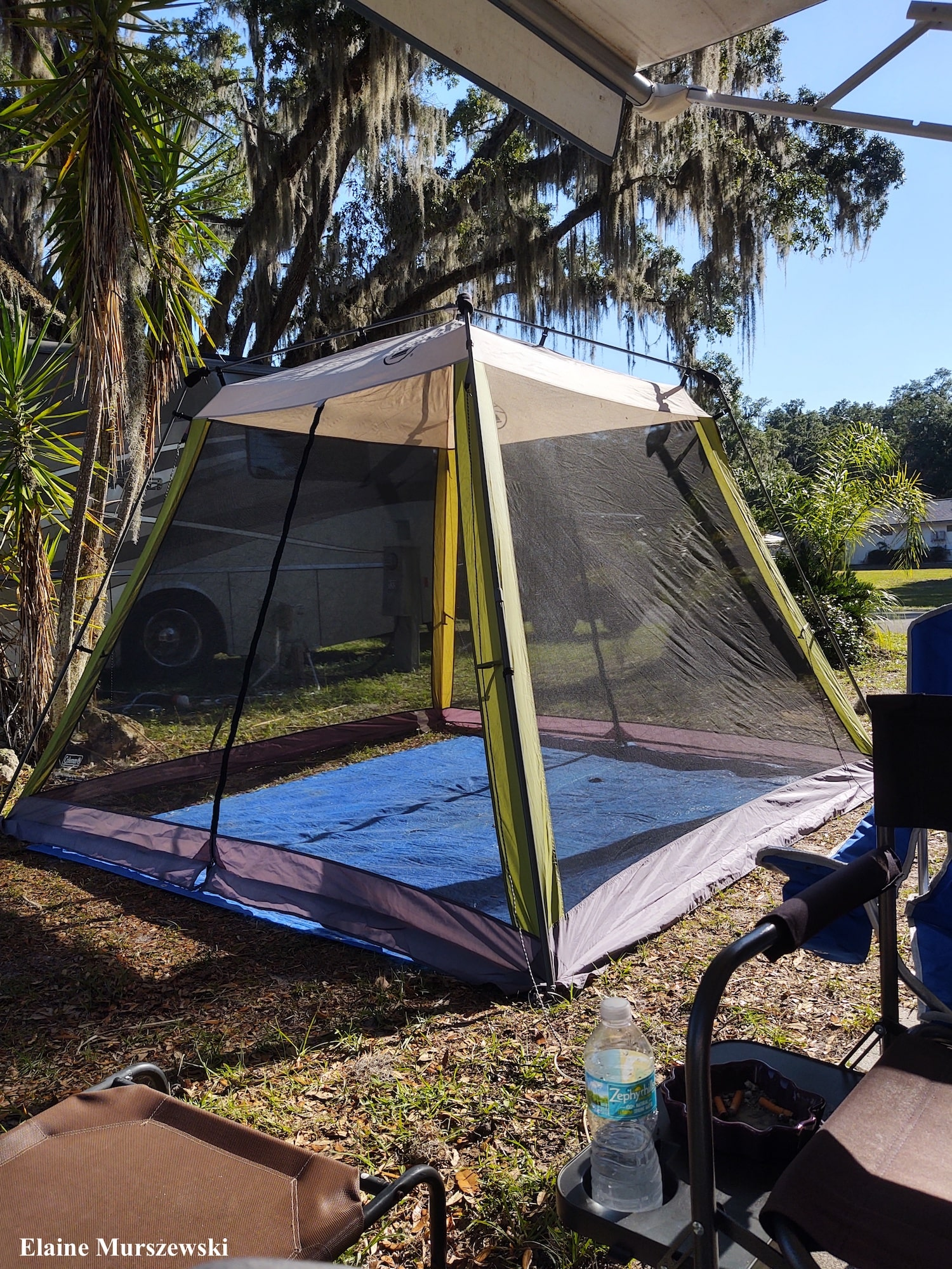 Screenhouse tent at RV campsite