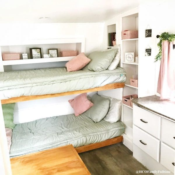 Bunk beds built in an RV closet