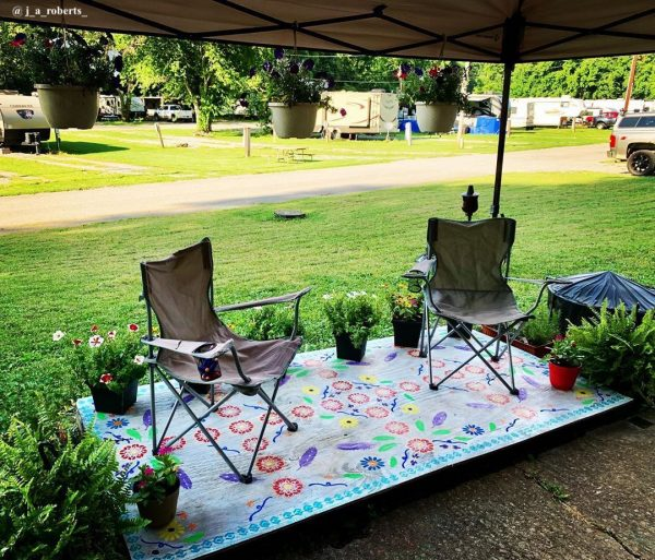 Camper porch ideas - painted patio
