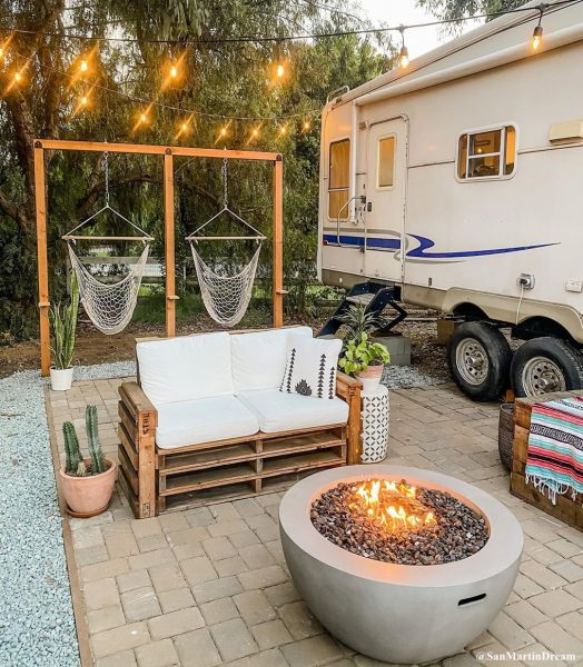 Seasonal campsite patio ideas