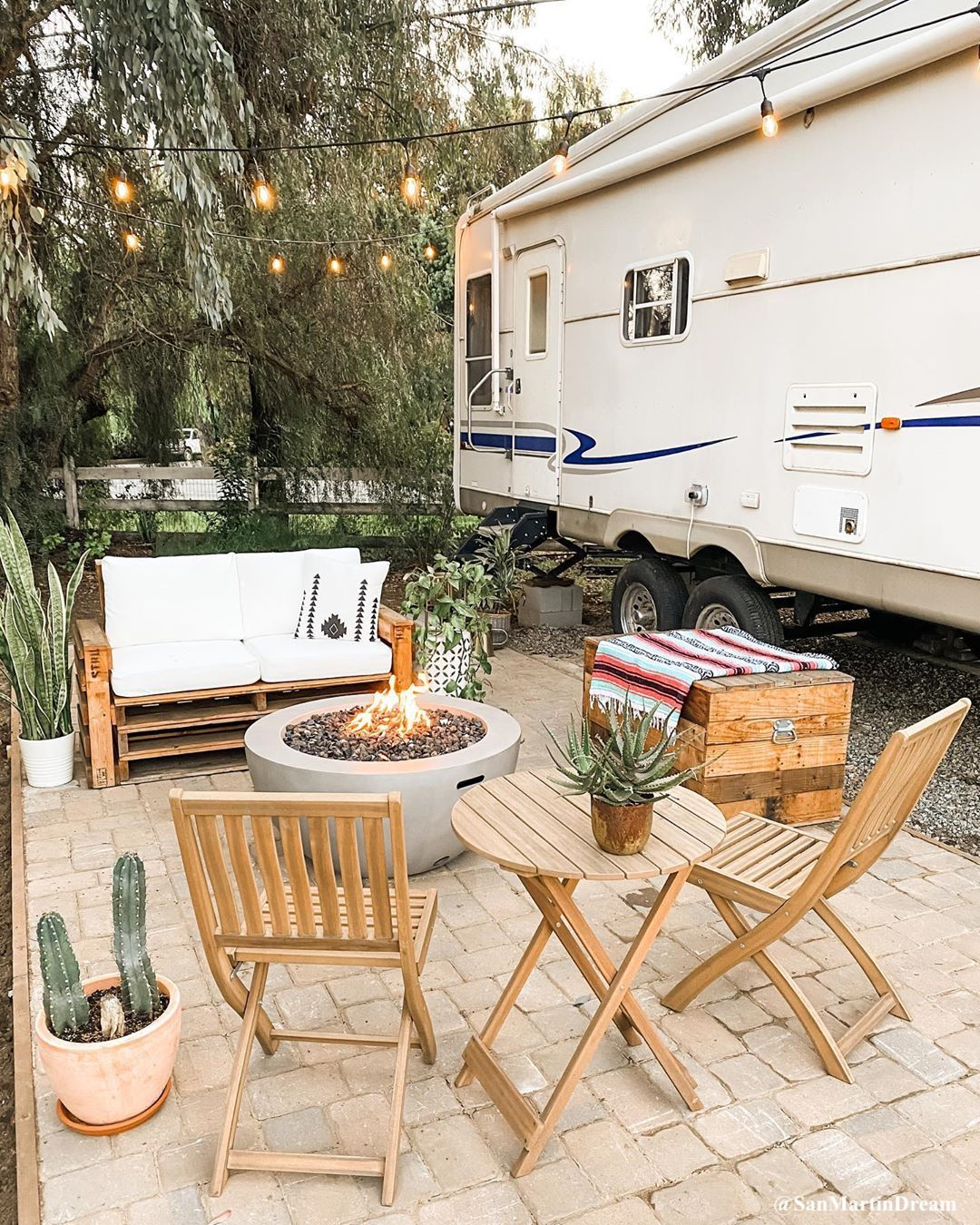 Long-term or seasonal campsite RV patio landscaping idea