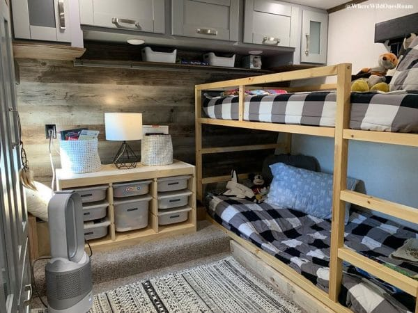 RV bedroom converted to bunk room