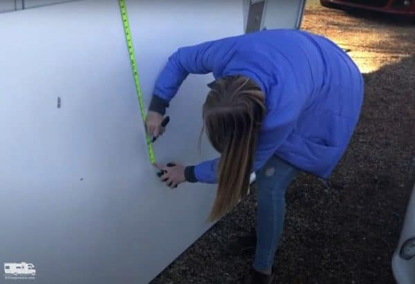 Marking the foam board to show where to cut