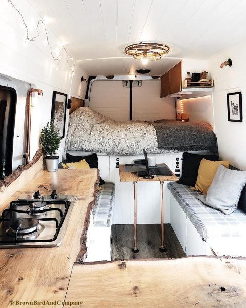Live edge wood countertop in a camper van