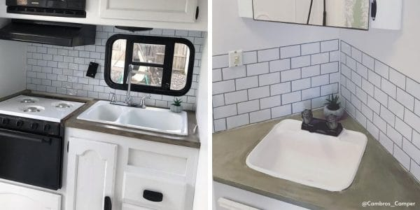 RV with cement countertops