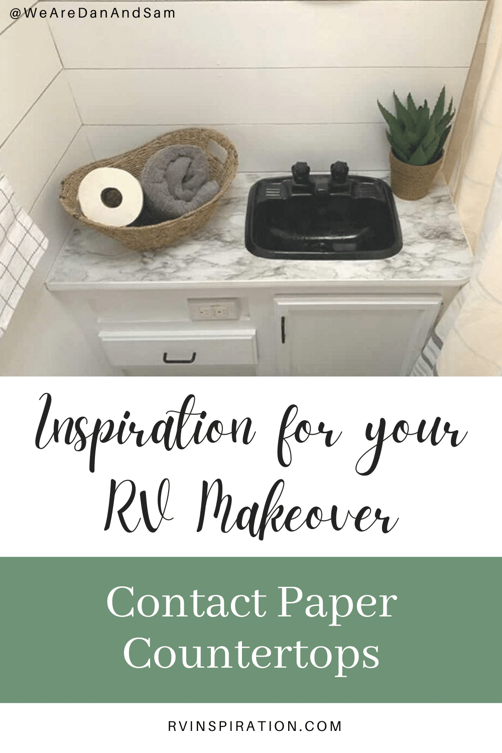 Give your RV countertops a makeover with this cheap and easy idea! #RVcountertops #RVkitchenideas #RVcountertopmakeover #RVkitchenmakeover