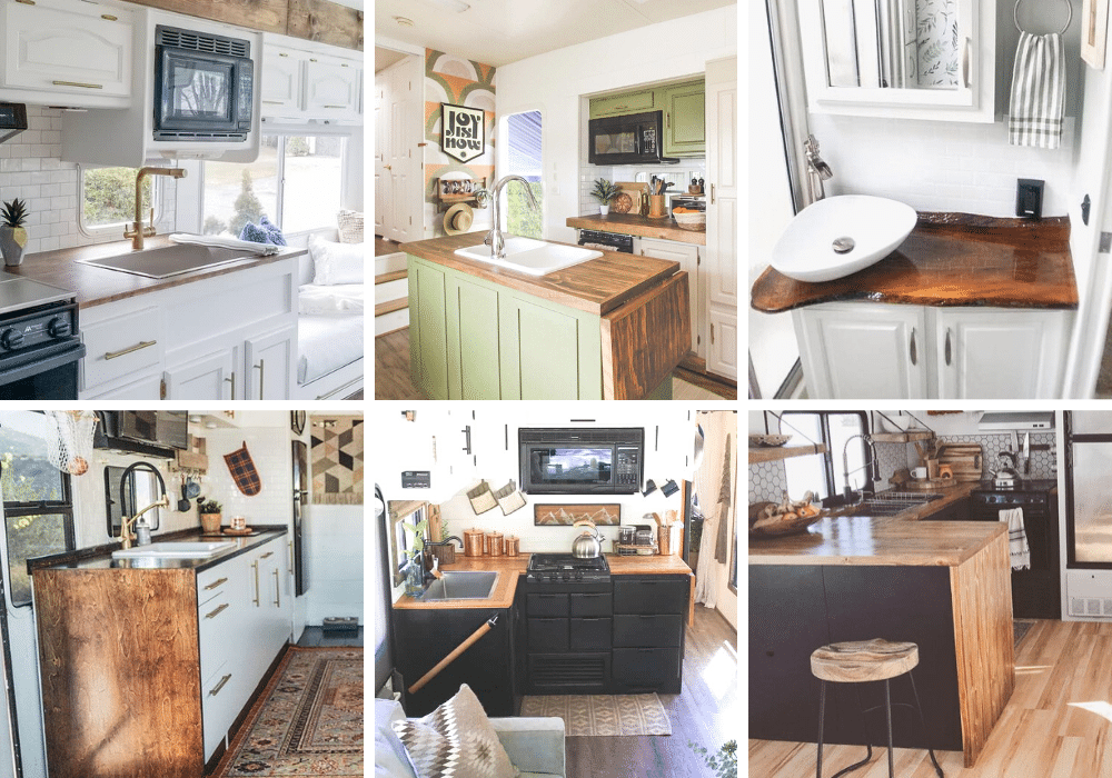 Collage of DIY Wood RV Countertops