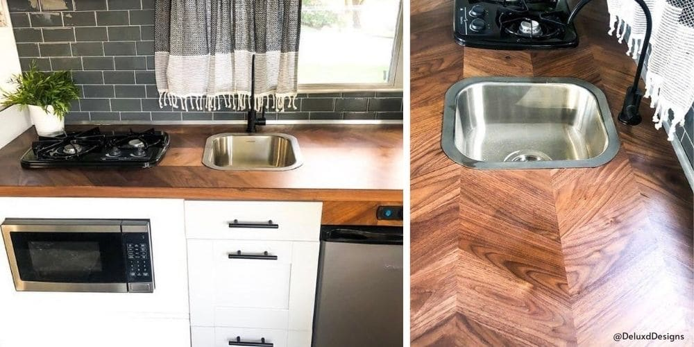 Ikea countertop installed in an RV