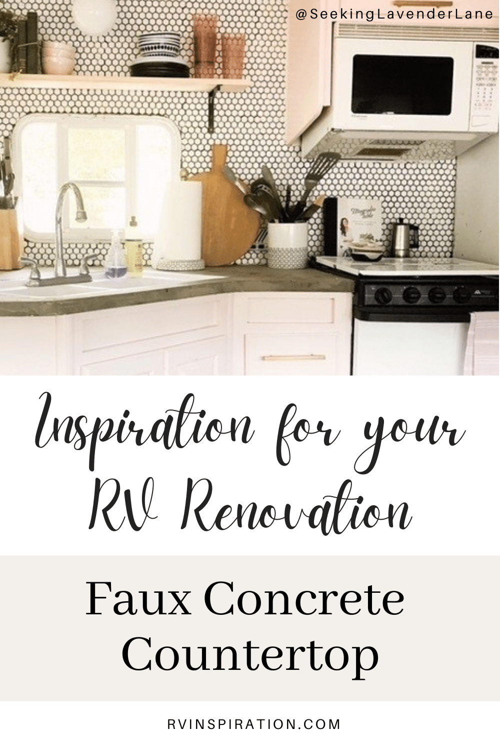 Update your RV kitchen with a beautiful and affordable faux concrete countertop. #RVrenovation #RVkitchen #RVmakeover #RVcountertop