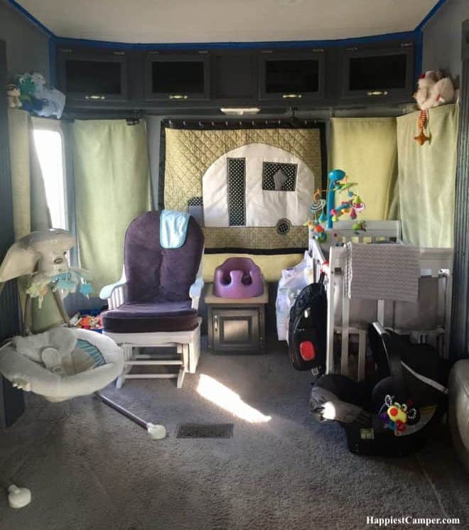 Toddler bed and bunk in RV kids room