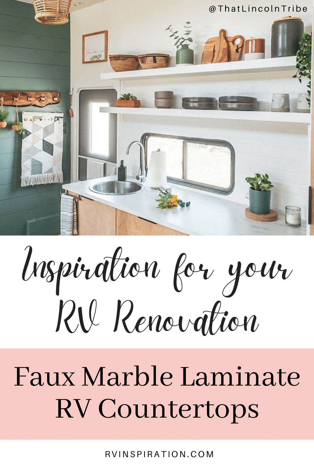 Update your RV kitchen with a beautiful new countertop. #RVrenovation #RVkitchen #RVmakeover #RVcountertop