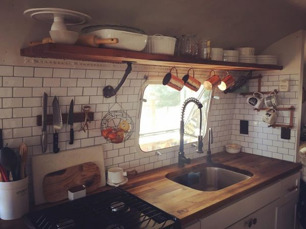Butcher block countertop in an Airstream