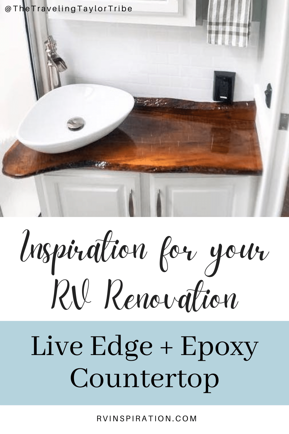Update your RV kitchen with a beautiful countertop made from live edge wood. #RVrenovation #RVkitchen #RVmakeover #RVcountertop