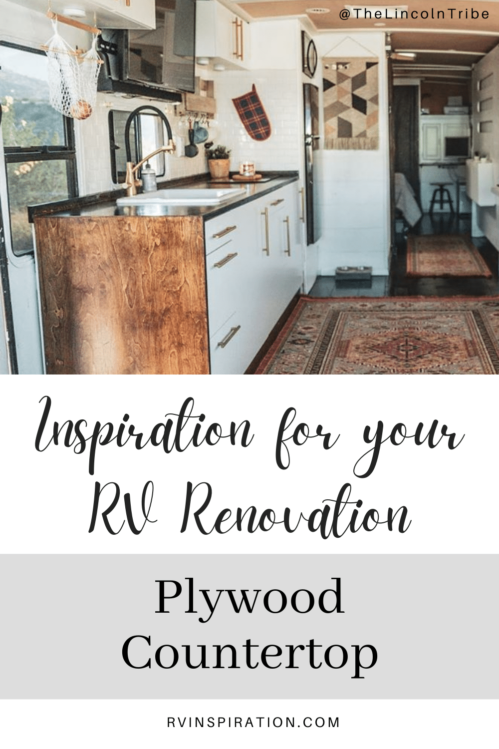 Update your RV kitchen with a beautiful and affordable plywood countertop. #RVrenovation #RVkitchen #RVmakeover #RVcountertop