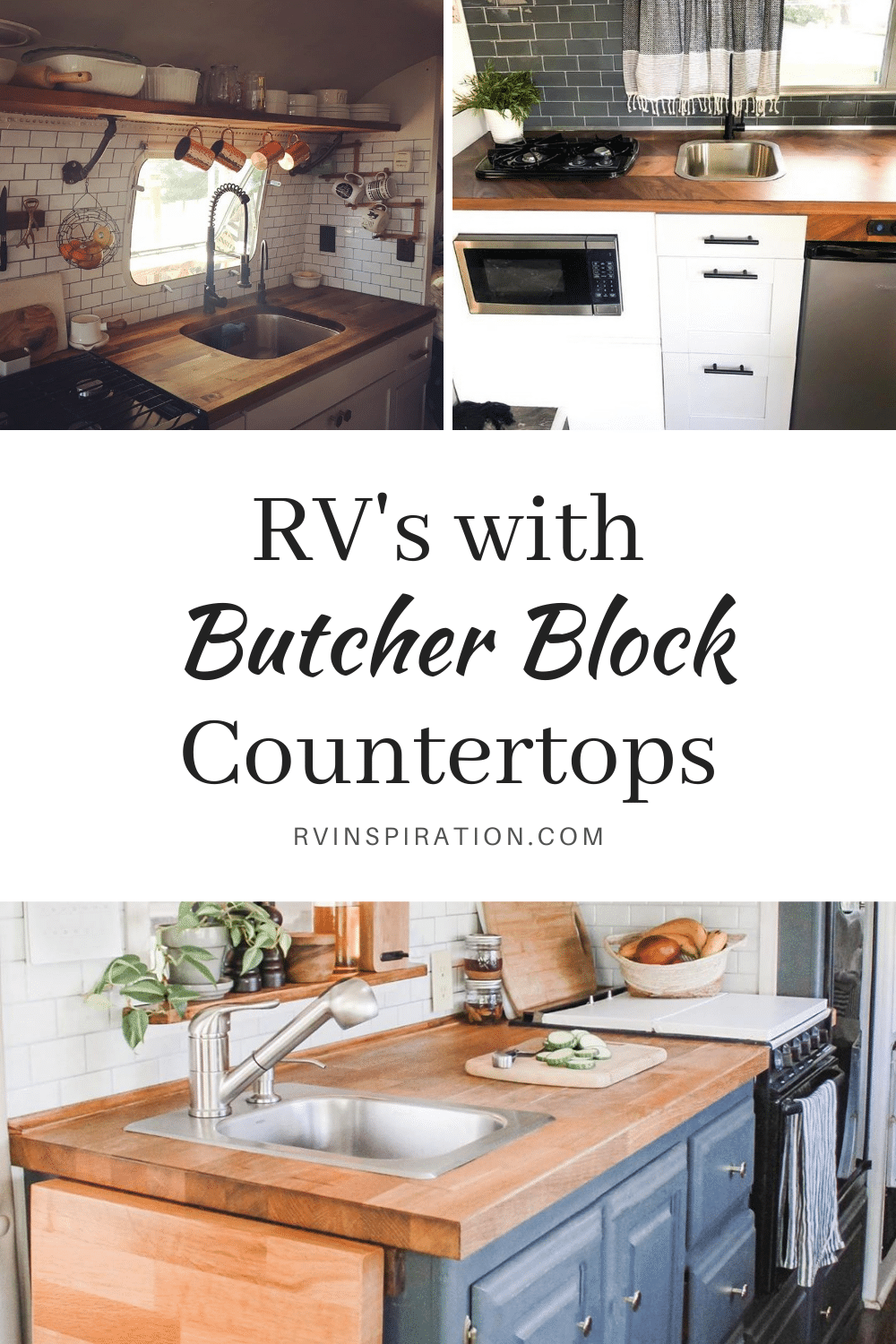 Update your RV kitchen with a beautiful butcher block countertop. #RVrenovation #RVkitchen #RVmakeover #RVcountertop