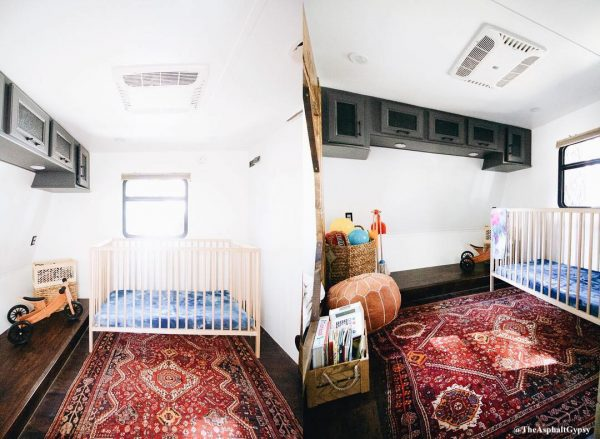 RV master bedroom converted to kids room