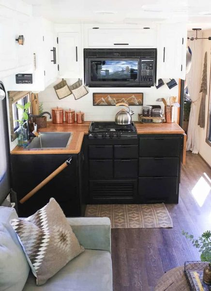 Hardwood flooring DIY RV countertops by MountainModernLife.com