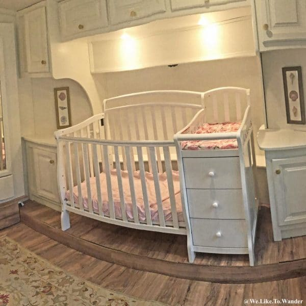 Baby crib added to RV bedroom