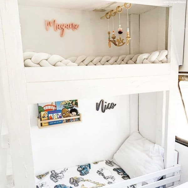 Baby and toddler sleeping area in RV bedroom