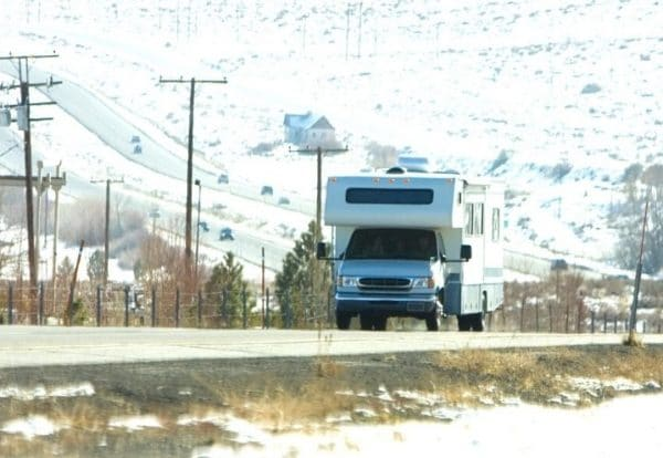 Motorhome in the snow
