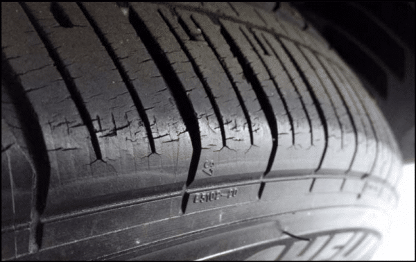 Tire showing signs of dry rot